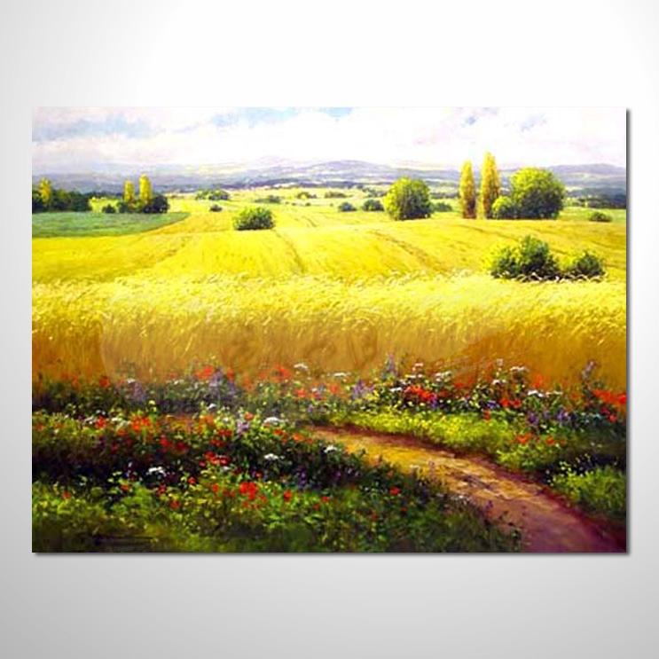 油画 花田景色 084 香气 乡村风景 山水油画 纯手绘 装饰 挂画 田园
