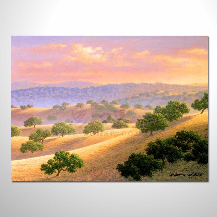 油画080花田景色 香气 乡村风景 山水油画 纯手绘 装饰 挂画 田园风景