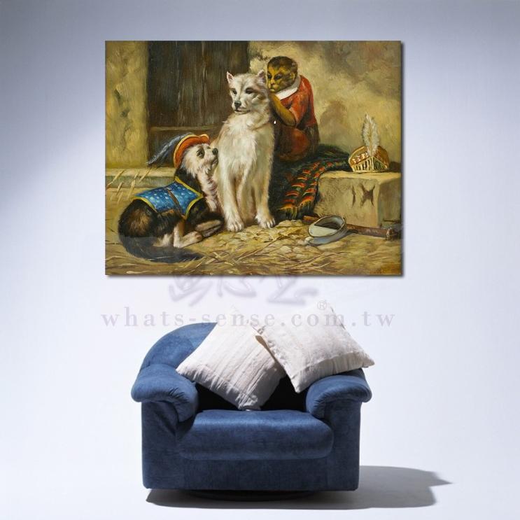 油画 动物王国 狗与猴 装饰品 山水画 艺术品 插画 无框画 浮雕立体3d