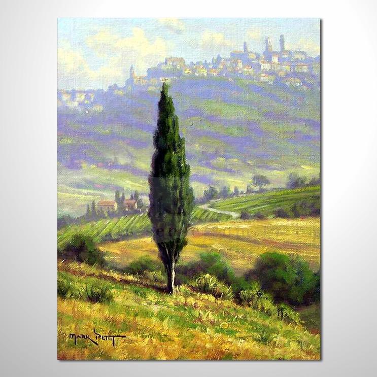 油画061花田景色 香气 乡村风景 山水油画 纯手绘 装饰 挂画 田园风景