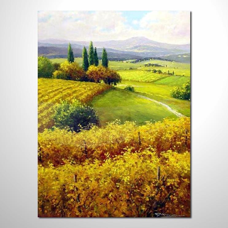 油画040花田景色 香气 乡村风景 山水油画 纯手绘 装饰 挂画 田园风景