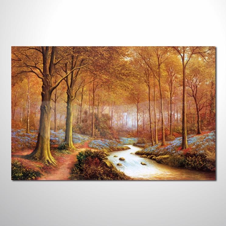 油画 四季原野山林08 风景 装饰品 山水画 艺术品 插画 无框画 森林之