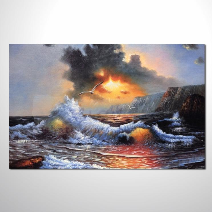 大海帆船灯塔 油画 海景48 纯手绘 艺术画 浪漫 沙滩 海湾 海浪 夕阳
