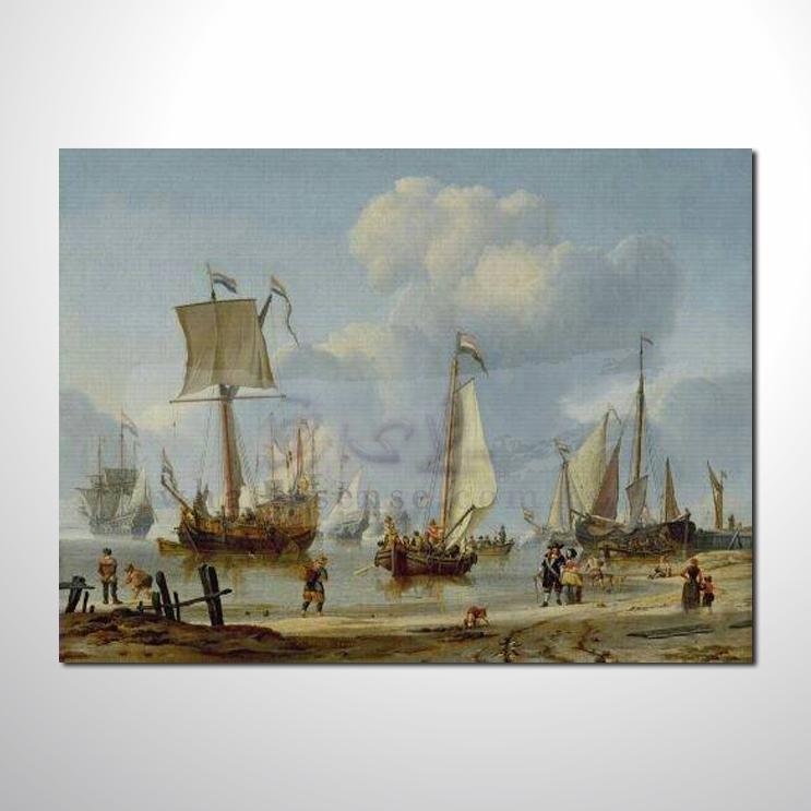油画 希腊船景02 风景 装饰品 山水画 艺术品 插画 无框画 浮雕立体3d