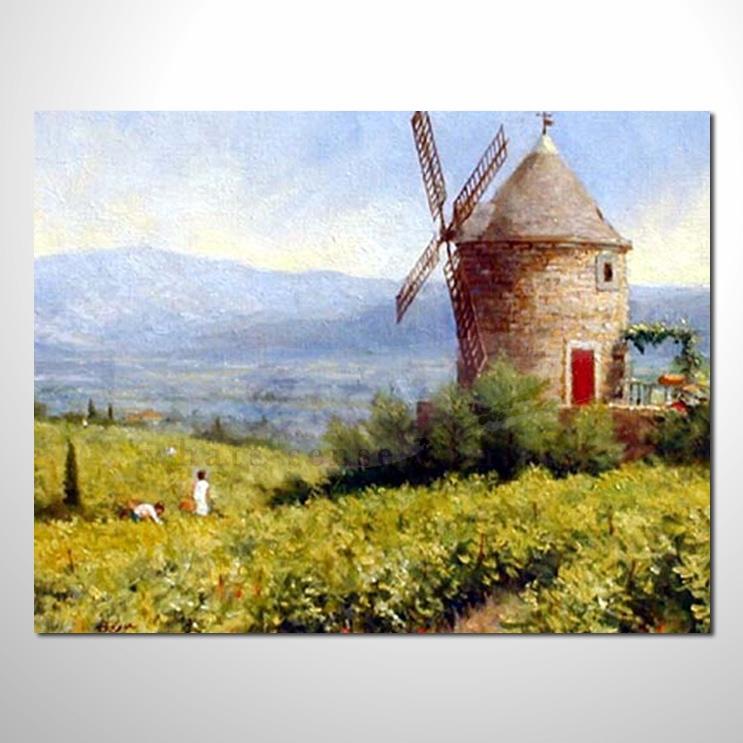 油画025花田景色 香气 乡村风景 山水油画 纯手绘 装饰 挂画 田园风景