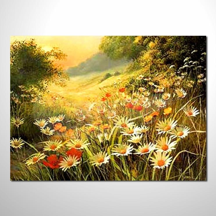 油画018花田景色 香气 乡村风景 山水油画 纯手绘 油画 装饰 挂画