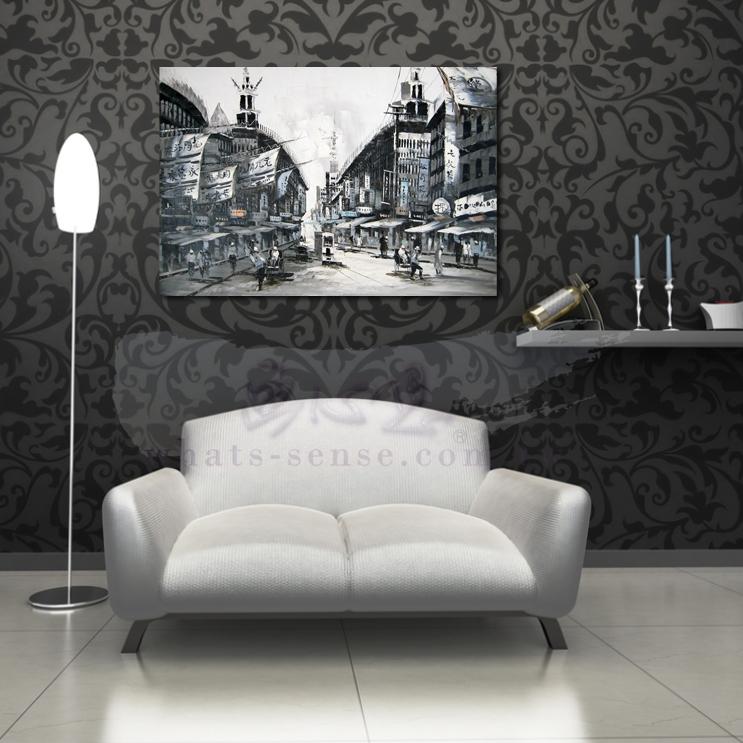 油畫 上海景08 風景油畫 異國街景風情 黑白灰色調 絕佳氛圍 山水畫