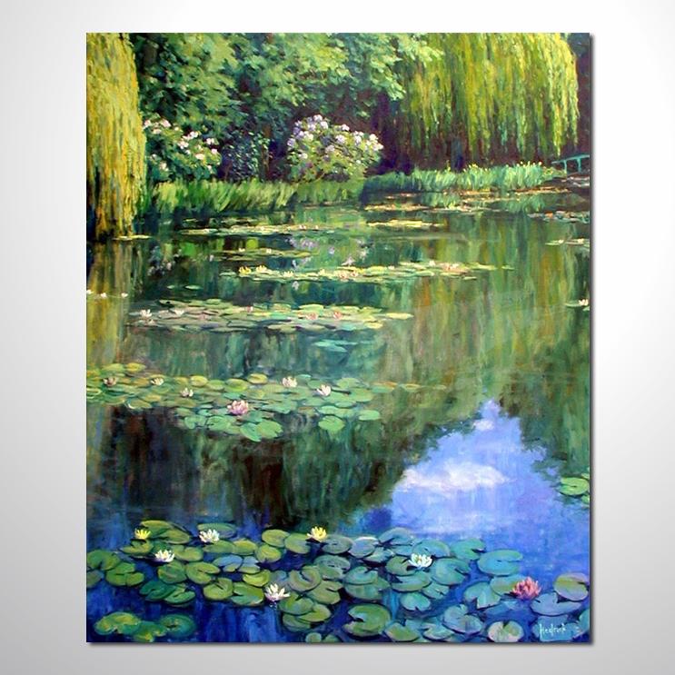 油画 睡莲47 纯手绘油画 荷包满满 花卉油画 山水画品