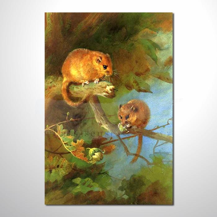 油画 动物王国 毛丝鼠 装饰品 山水画 艺术品 插画 无框画 浮雕立体3d