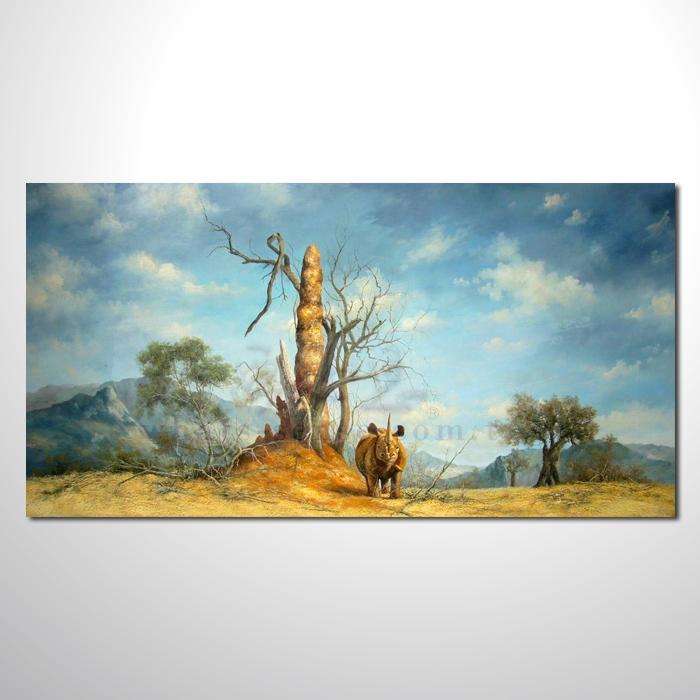 油画 动物王国 犀牛 装饰品 山水画 艺术品 插画 无框