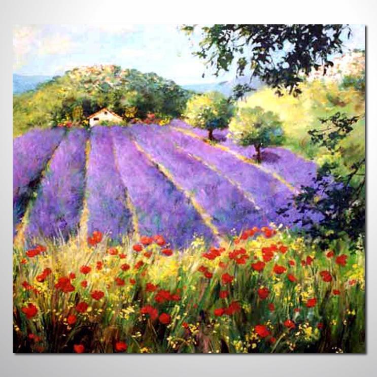 紫恋薰衣草147 香气 乡村风景 山水油画 纯手绘 装饰 挂画 田园风景