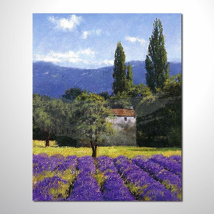 油画 紫恋薰衣草163 香气 乡村风景 山水油画 纯手绘