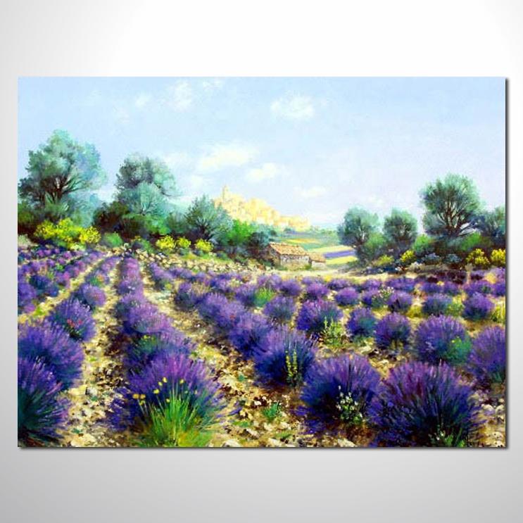 油画 紫恋薰衣草103 香气 乡村风景 山水油画 纯手绘