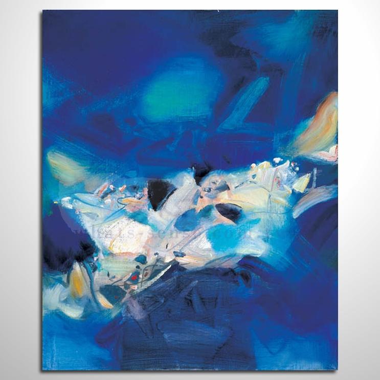 凯旋的蓝色 抽象艺术大师 纯手绘抽象油画 室内设计 居家布置 艺术